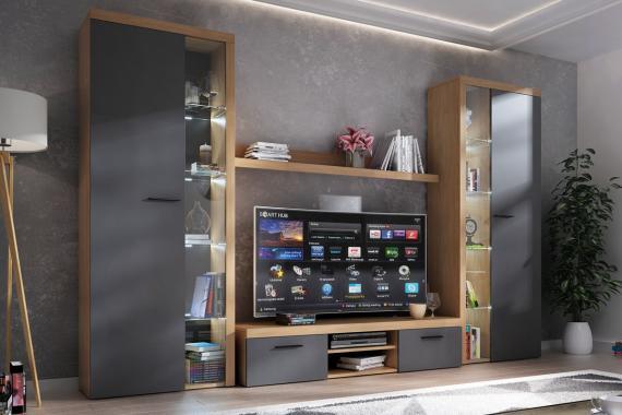 RUMBA XL V obývací stěna, dub lefkas/grafit