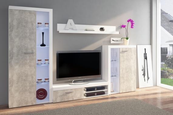 RUMBA IV obývací stěna, světlý beton/bílá