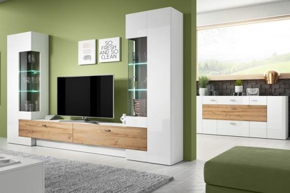 PALEO obývací stěna, bílý lesk/dub grandson