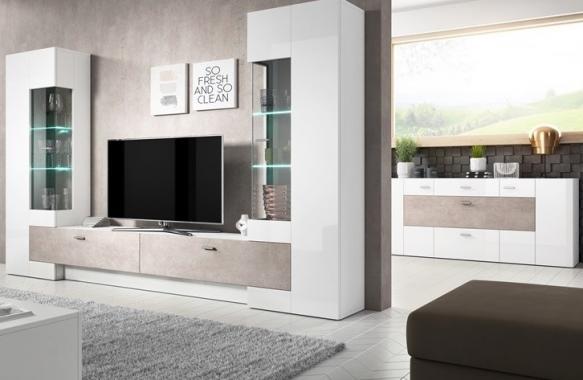 PALEO obývacia stena, biely lesk/dub grandson/beton colorado