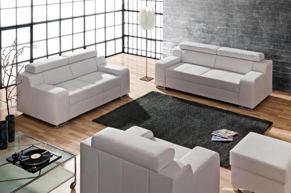 OCTAVIE Sitzgarnitur: 3-Sitzer Sofa + 2-Sitzer Sofa + Sessel, Schlaffunktion, verstellbare Kopfstützen, modulares System