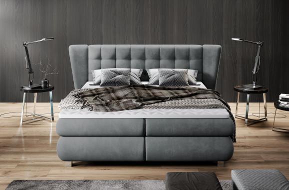 LARONA boxspring posteľ 140x200 s masívnym čelom