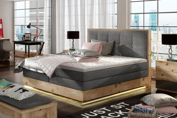 GLANS boxspring posteľ 180x200 z dubového dreva s úložným priestorom a LED osvetlením