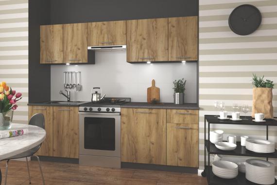DARIA malá kuchyňská linka v dekoru antracit/dub wotan
