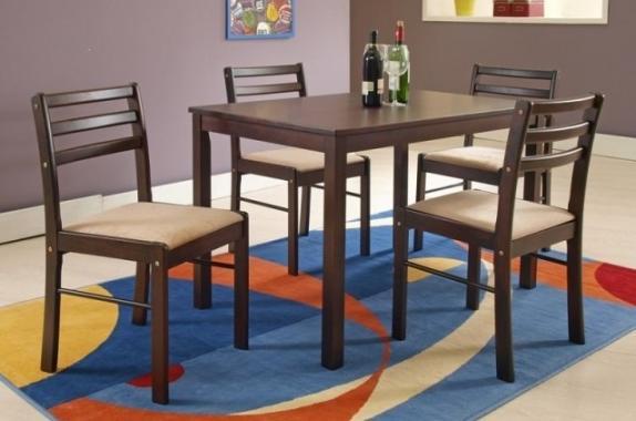 STARTER jedálenská zostava | jedálenský stôl + 4x stoličky, dekor espresso