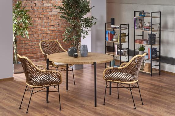 MORGAN okrúhly jedálenský stôl v industriálnom štýle, dub zlatý