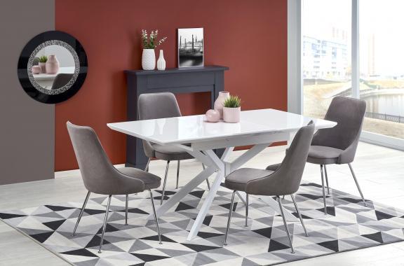 HARPER moderní rozkládací jídelní stůl 120-160 cm, bílý