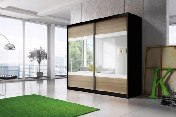 MULTI 12 šatní skříň se zrcadlem a posuvnými dveřmi | 3 dekory