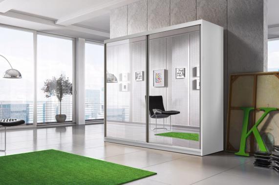 MULTI 20 šatní skříň se zrcadlem a posuvnými dveřmi | 3 dekory