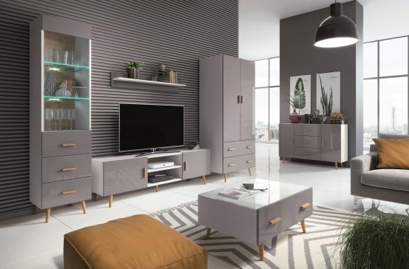 SIVA program do obývacího pokoje ve skandinávském stylu, bílá/šedý lesk