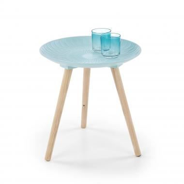 BINGO malý kulatý stůl z masivního dřeva, modrý