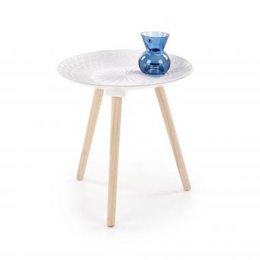 BINGO malý kulatý stůl z masivního dřeva, bílý