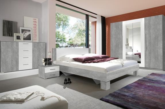 JASMINE VII zostava do spálne, dekor biela/betón