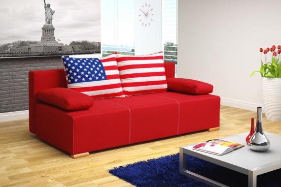 AMERICANO 2,5-Sitzer Sofa mit Schlaffunktion und Stauraum, Motiv USA oder GB Flagge