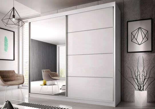 MULTI 31 šatníková skriňa so zrkadlom a posuvnými dverami-biela | 3 rozmery