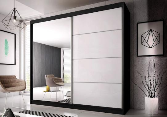 MULTI 35 šatní skříň se zrcadlem a posuvnými dveřmi, černobílá | 3 rozměry