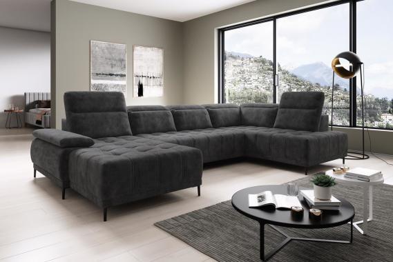 DIEGO XL moderní sedací souprava ve tvaru U s nastavitelnou hloubkou sezení
