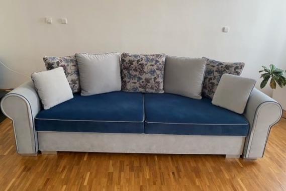 MONTANA DELUXE rozkladacia pohovka s úložným priestorom v provensálskom štýle, modrá| VÝPREDAJ