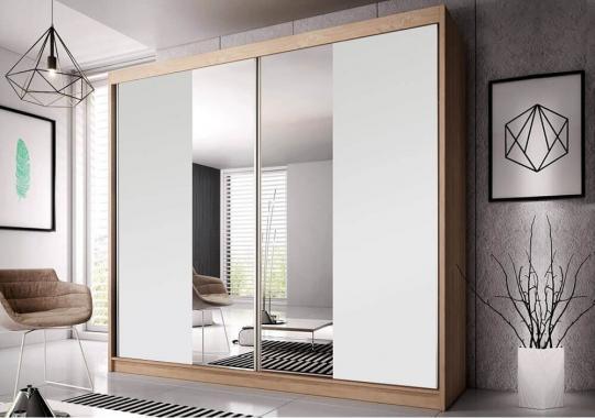 MULTI 38 šatní skříň se zrcadlem a posuvnými dveřmi