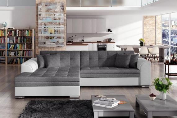 SYDNEY moderní rozkládací rohová sedačka s širokou lenoškou, bílo-šedá