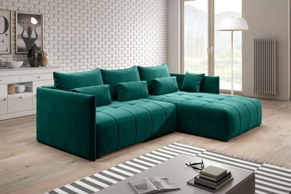 BRONX rozkládací sedačka s úložným prostorem, zelená