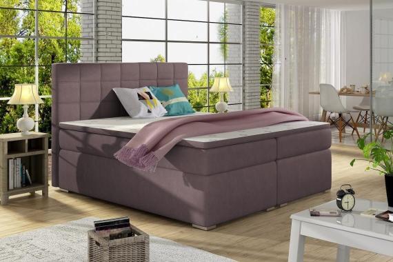 ALICIE 200x200 boxspring posteľ s úložným priestorom, fialová