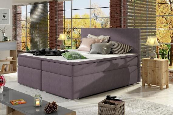 DIVALO 180x200 boxspring posteľ s úložným priestorom, fialová