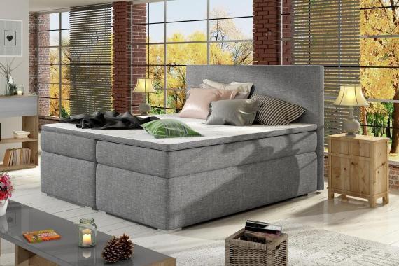 DIVALO 180x200 boxspring posteľ s úložným priestorom, šedá