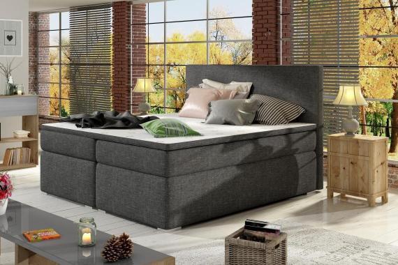 DIVALO 180x200 boxspring posteľ s úložným priestorom, tmavo šedá