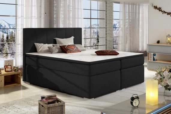BOLERO 200x200 boxspring posteľ s úložným priestorom, čierná