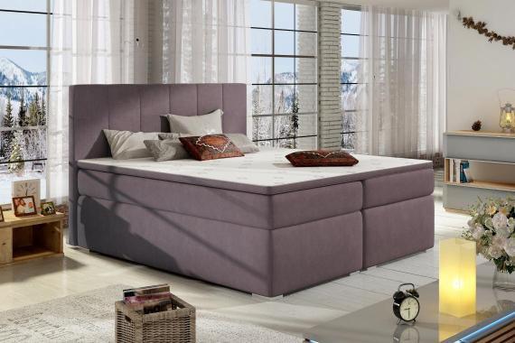 BOLERO 200x200 boxspring posteľ s úložným priestorom, fialová