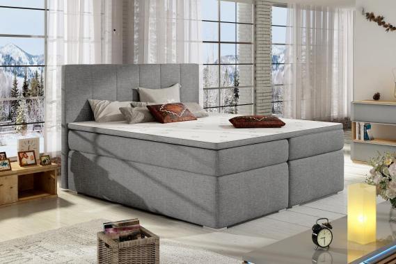BOLERO 200x200 boxspring posteľ s úložným priestorom, šedá