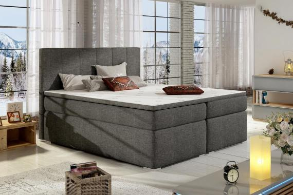 BOLERO 180x200 boxspring posteľ s úložným priestorom, tmavo šedá