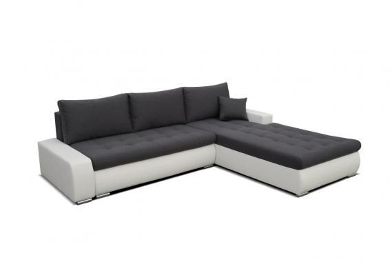BARCELONA velká rohová sedací souprava s rozkládací funkcí a úložným prostorem, šedo-bílá