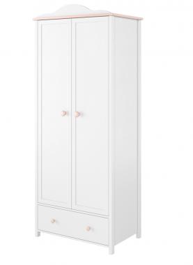 LUNA LN-12 bílo-růžová šatní skříň do dětského pokoje