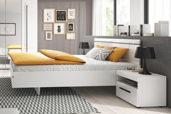 SULTAN II moderná biela posteľ s leskom | 2 rozmery