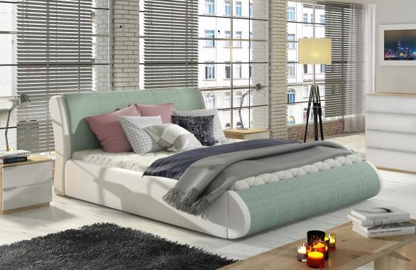 KOMTESA čalúnená posteľ 160x200 s vysokým čelom