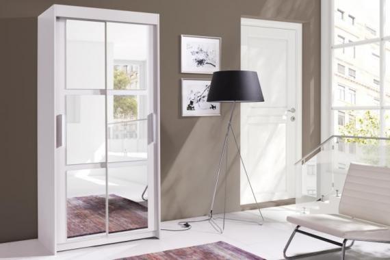 EVITA malá bílá šatní skříň 100 cm se zrcadlem