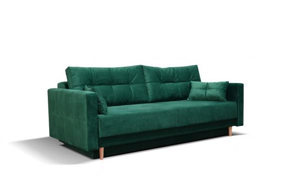 MILA rozkládací pohovka s úložným prostorem ve skandinávském stylu, zelená