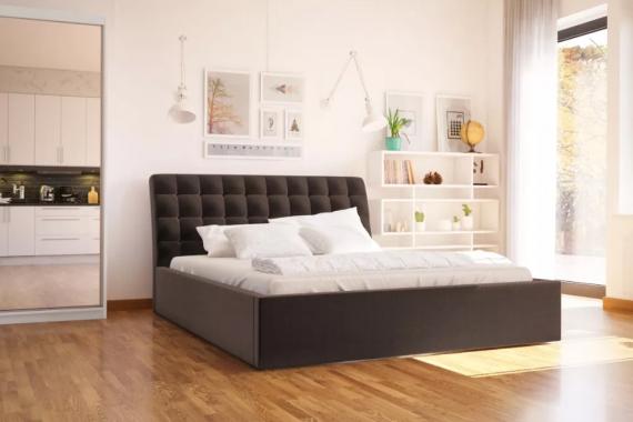 LIZZO čalouněná manželská  postel 160x200 s vysokým čelem
