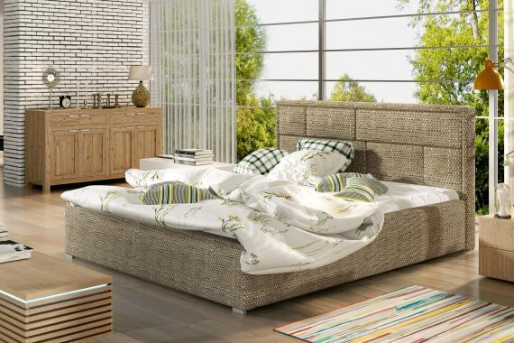 BEATA 200x200 čalouněná postel s dřevěným roštem