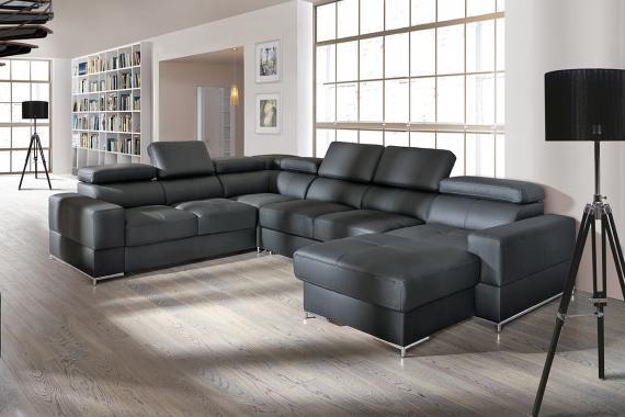 ESTER 2 luxusní modulová sedací souprava ve tvaru U s nastavitelnými opěrkami, možnost pravé kůže