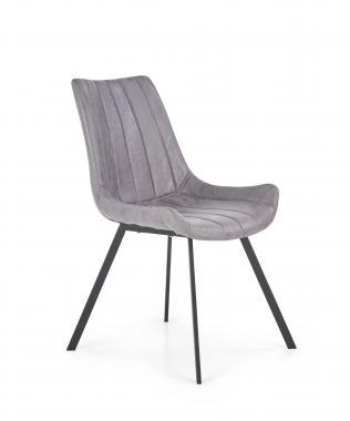 K-279 šedá kožená jedálenská stolička v industriálnom štýle