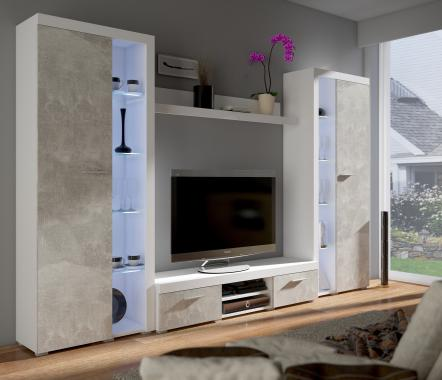 RUMBA XL II obývacia stena, svetlý betón/biela