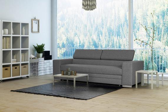 LOGAN 3- oder 2-Sitzer Sofa mit Matratze zum Schlafen, verstellbare Kopfstützen