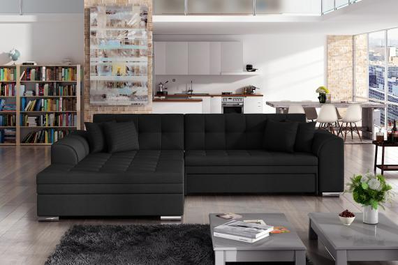 SYDNEY moderní rozkládací rohová sedačka s širokou lenoškou, černá