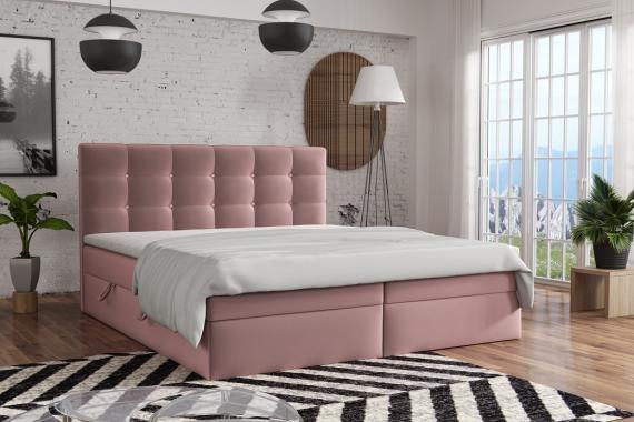 FERNO kontinentální postel boxspring 200x200 s úložným prostorem