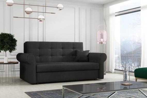 FLAVIE III rozkládací pohovka s úložným prostorem, černá