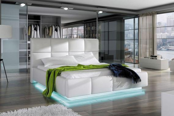 JUSTINA moderní manželská postel s LED osvětlením | 3 rozměry