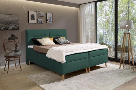 LUIS kontinentální postel boxspring 200x200 s úložným prostorem